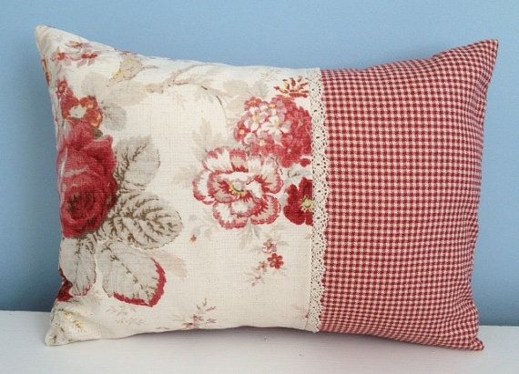 Waverly Norfolk Rose Pillow Cover Shabby Chic Cottage Cabbage Roses Lace Trim Waverly Country Fair 12x16 Throw Pillow V Almofadas Arte Em Tecido Pachwork