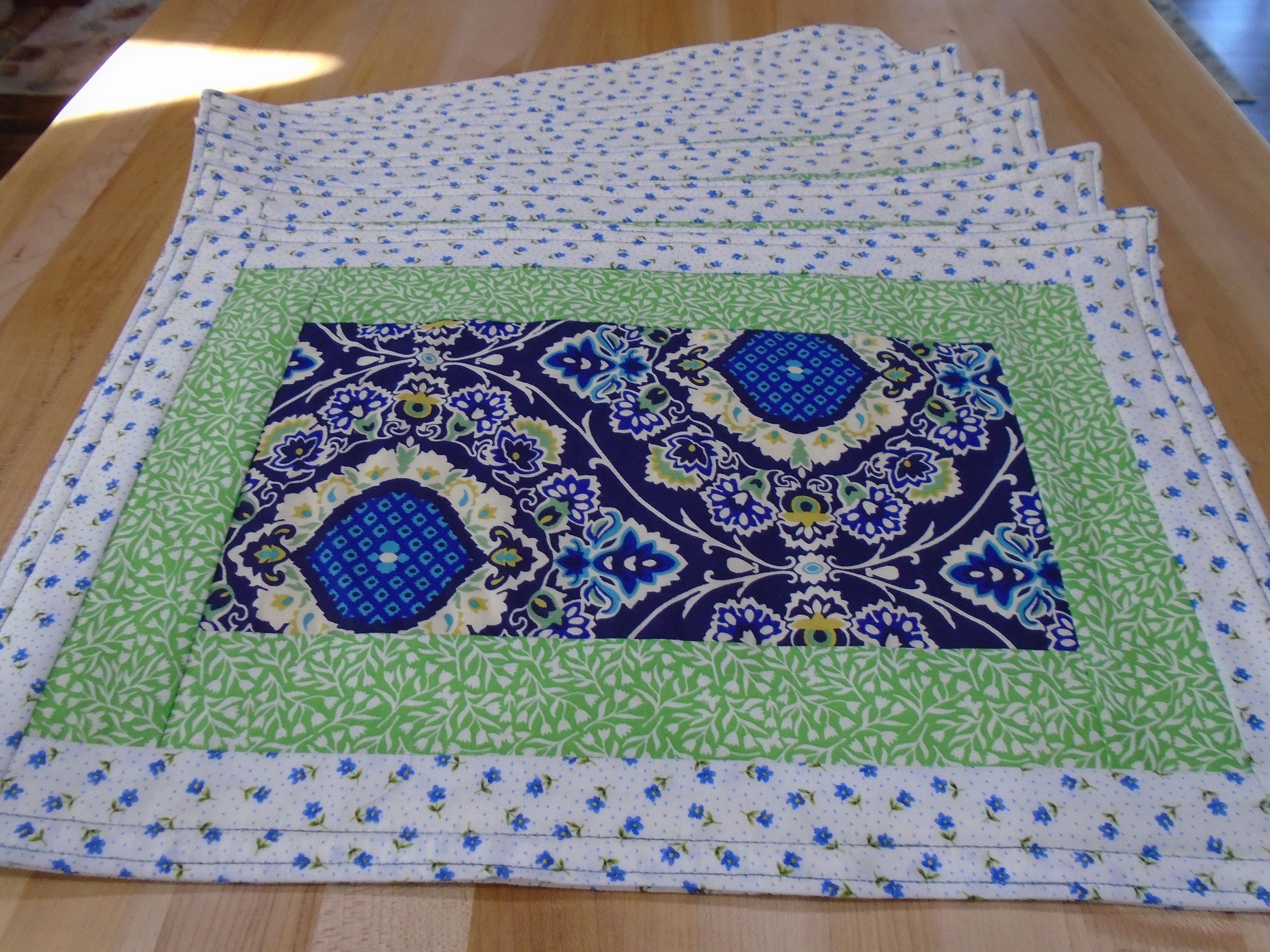 Placemats Set Of 6 Placemats Blue Green White Reversible Etsy Blue Placemats Green Placemats Floral Placemats