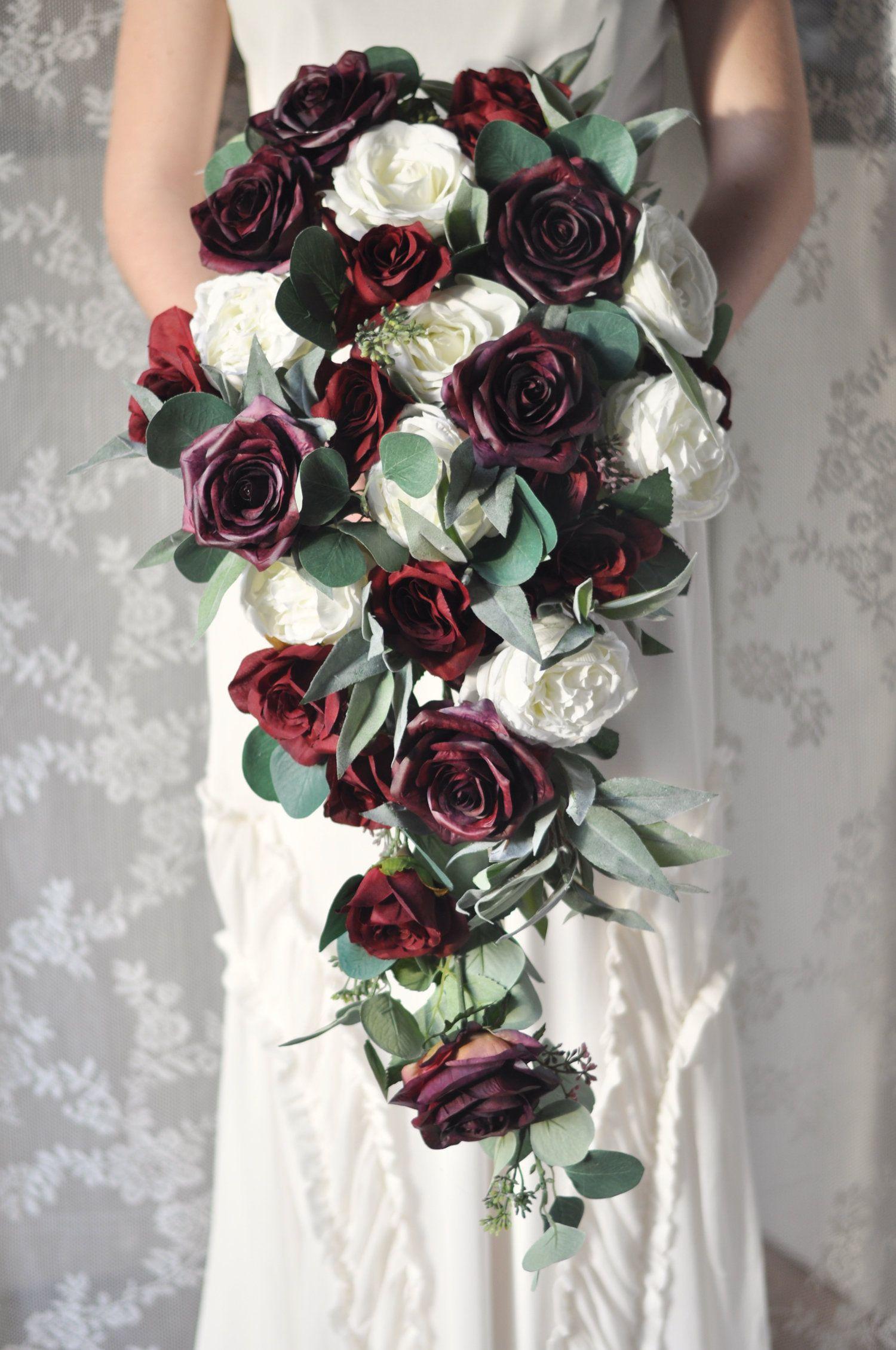 Cascade Bouquet Wedding Flowers Burgundy Bouquet Silk Flowers