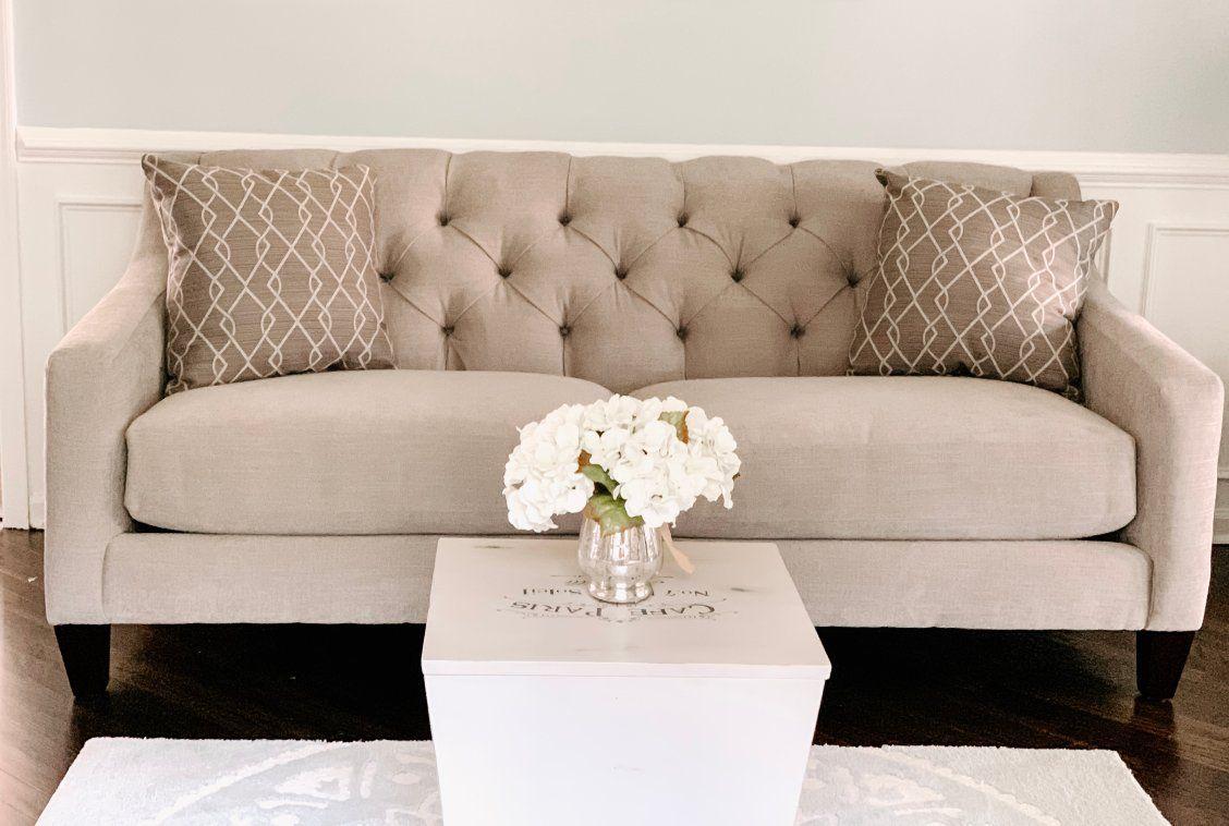 Densmore sofa light grey upholstery neutral living room