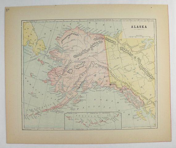 Vintage Map Of Alaska 1896 Ak Map Alaskan Decor Arctic Circle