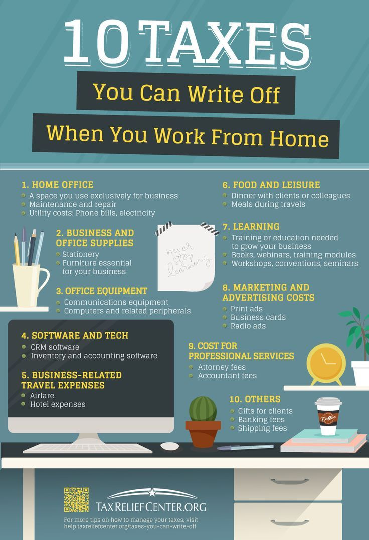 Taxes You Can Write Off When You Work From Home | Aside from the flexibility and #convenience of working from home, you can also benefit from a number of #taxes you can #writeoff from using your own space for business.