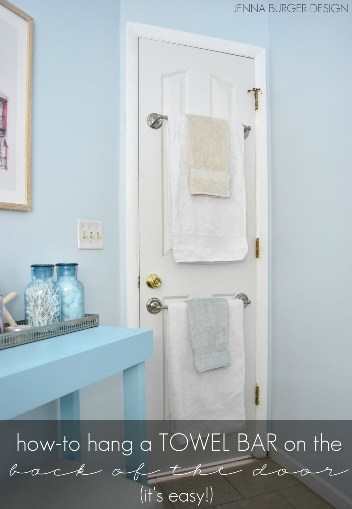 How-To mount a TOWEL BAR on a hollow core door to save on space! www ...
