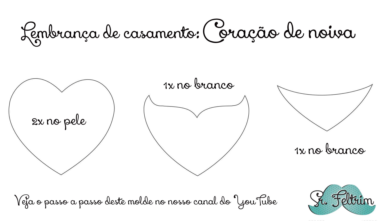 Coração de noiva #felt #feltro #pattern #DIY #pattern #free #handmade #selfmade…