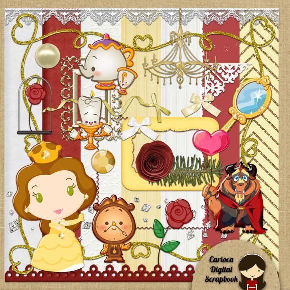 Cute The Beauty And Beast Digital Scrapbook Kit