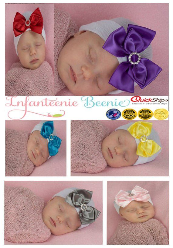 03d769ebf HUGE SALE baby girl light pink or hot pink satin bow with bling newborn  hospital hat Limited Time On