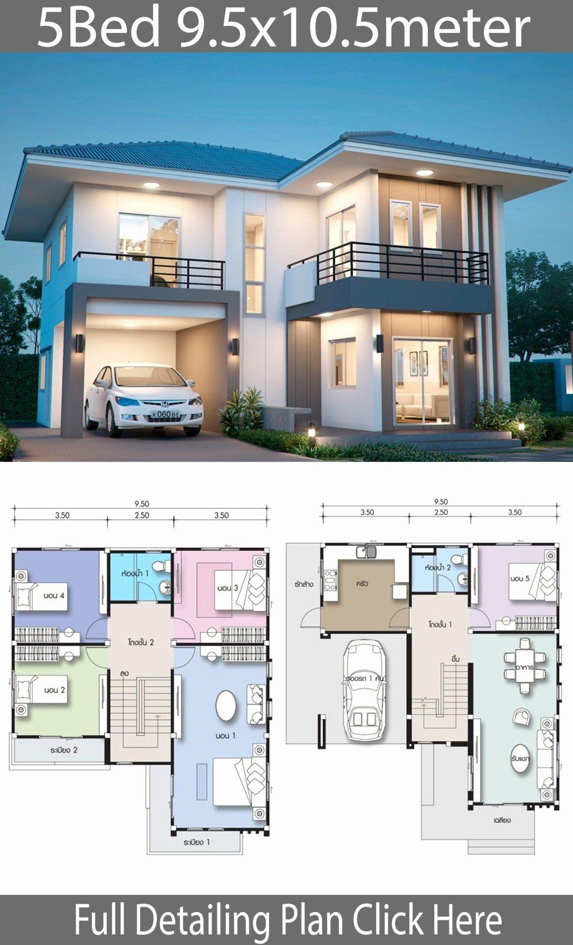 5 Br House Plans Fresh House Design Plan 9 5x10 5m With 5 Bedrooms In 2020 Duplex House Design Duplex House Plans Simple House Design