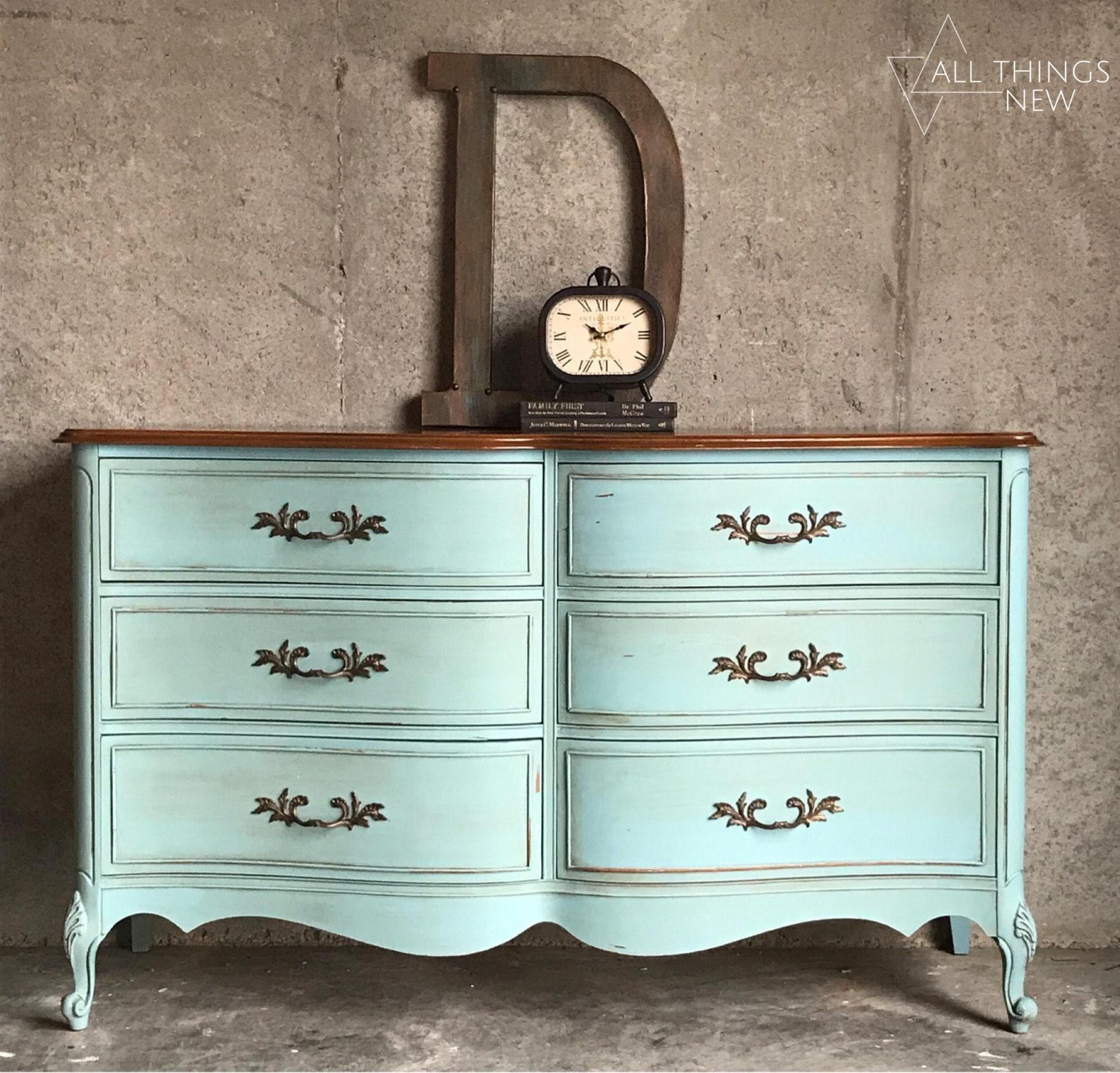 French Provincial Dresser/ Duck Egg Blue/ Antique Dresser