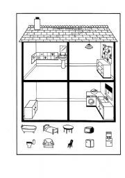 English worksheet: vocabulary of the house, Match and