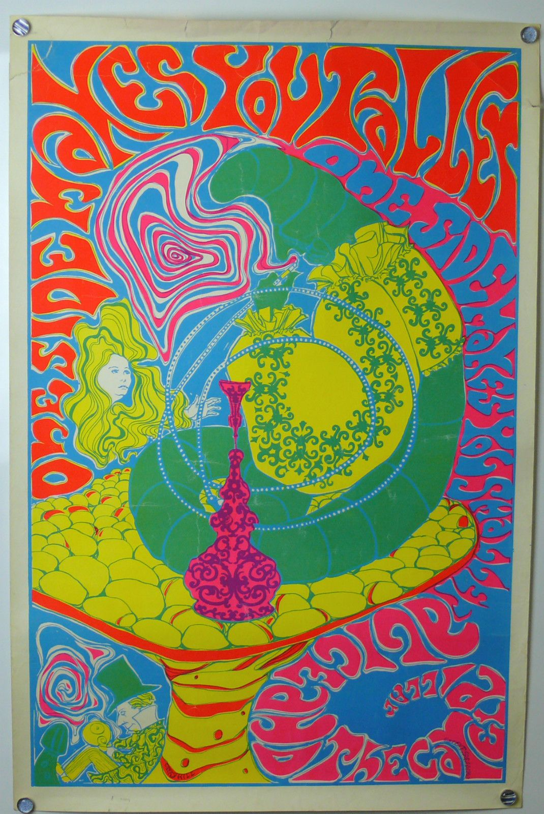 Alice In Wonderland Original Psychedelic Poster 1967 Fluorescent