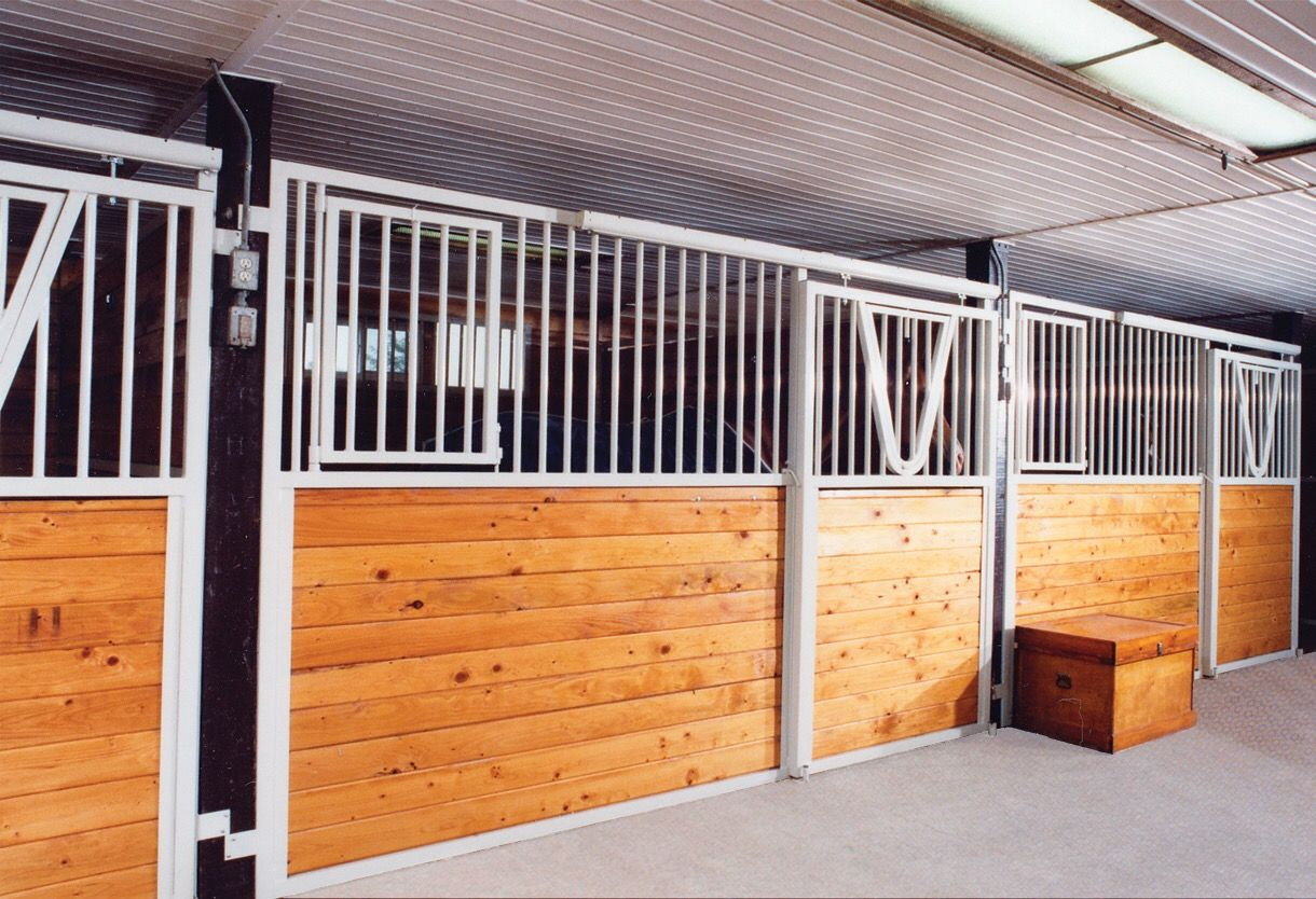 This White Stall Front With Pine Wood Fill Has The Perfect