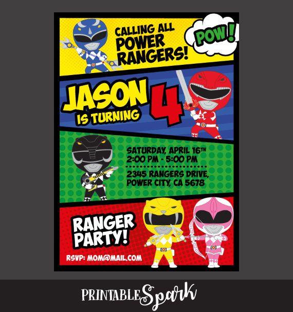 Power Rangers Invitación Fiesta De Cumpleaños Power Ranger