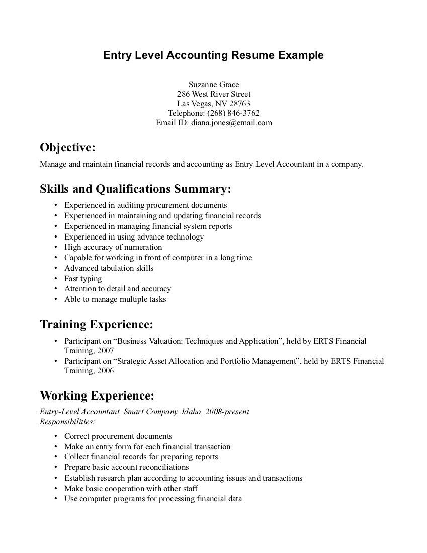 Entry Level Accounting Resume Examples Sample