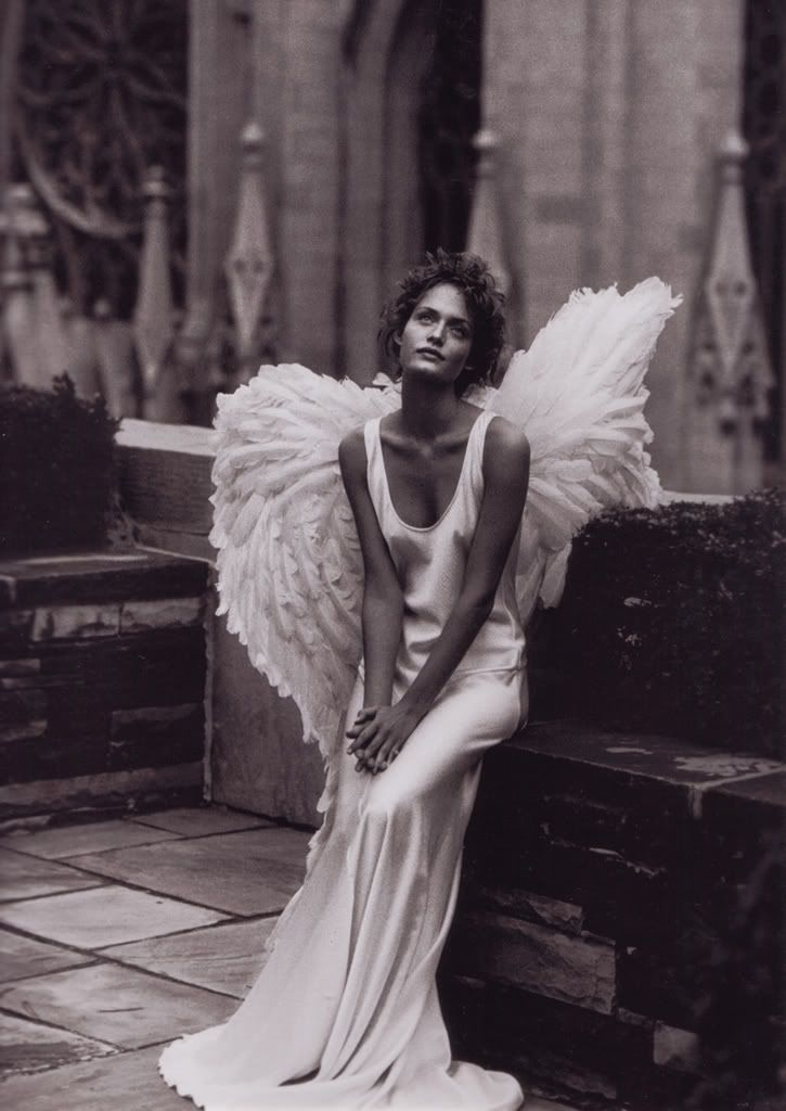 make a gown into a (heavenly event) tailor & stye it to fit, drape & pool at her feet, then get  peter lindbergh to photograph it ,,,photos 93'