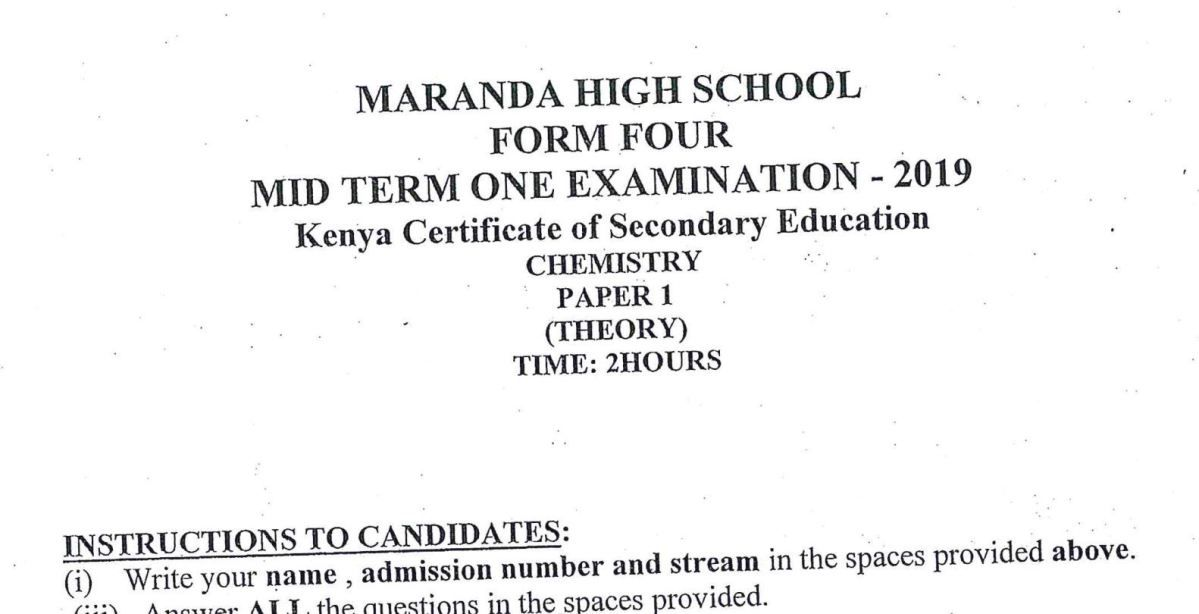 KNEC KCSE 2018 CRE Paper 1 and 2 Combined with Answers