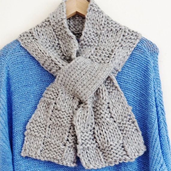 Woman\'s grey hand knitted scarf with pull through by OnePurlRow ...