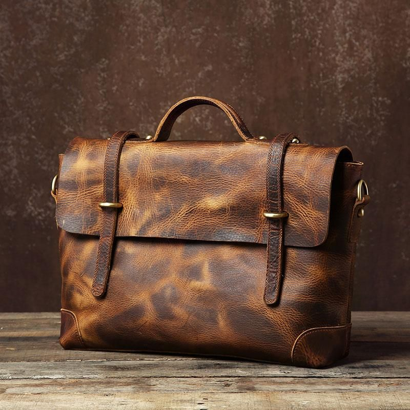 cb4c9bfcfae4 Handmade Leather Mens Cool Messenger Bag Briefcase Work Bag Business B –  iwalletsmen
