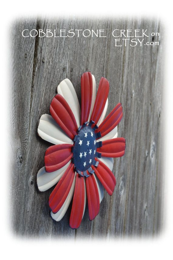 Extra Large 15 American Flag Painted Metal by COBBLESTONECREEK