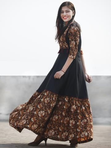 e89190734b Black Rust Red White Hand Block Printed Cotton   Rayon Long Dress With  Tassels - D181F1112