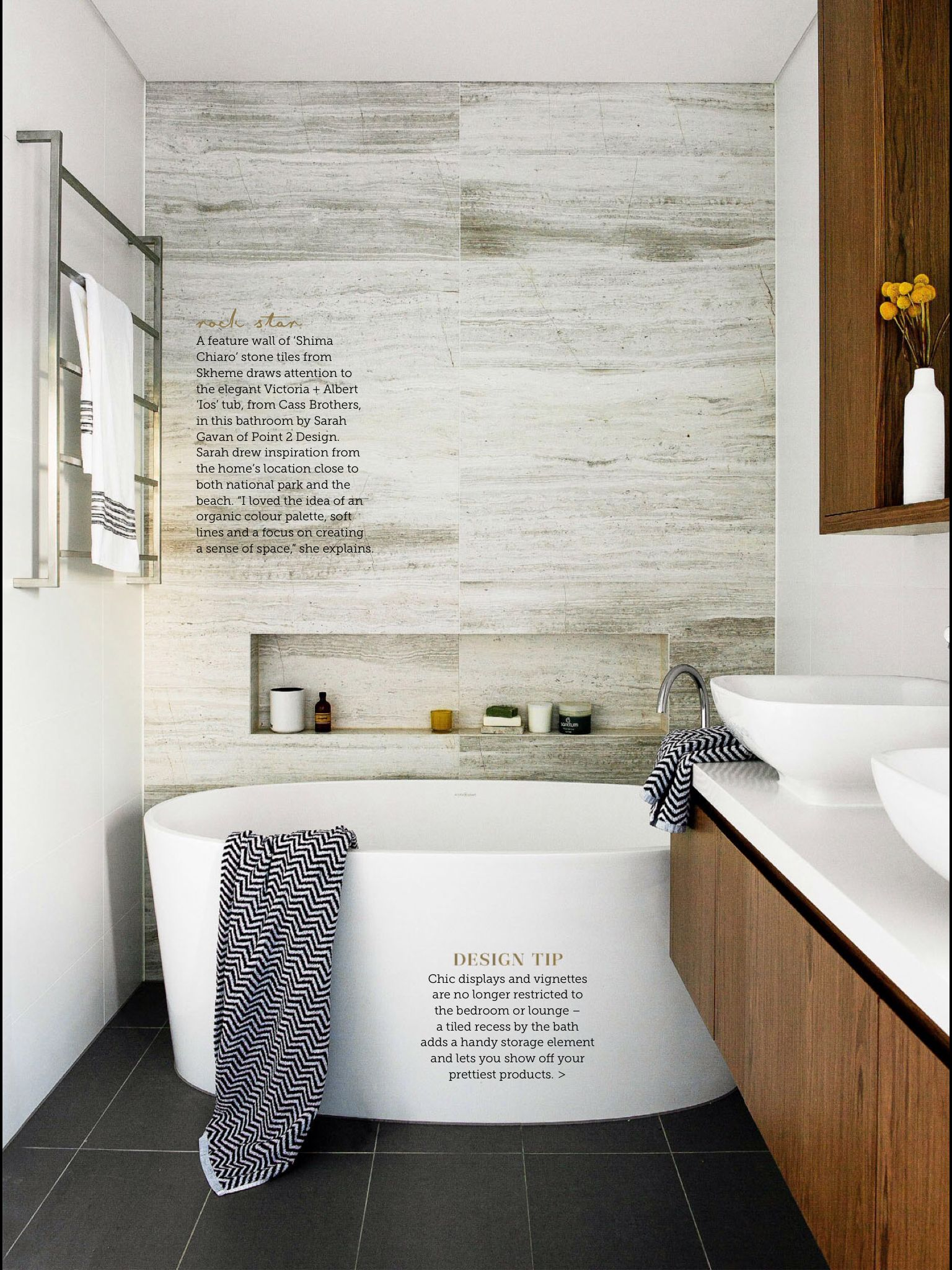 Like stone, wood, white & bluestone floor combo | Bathroom ...