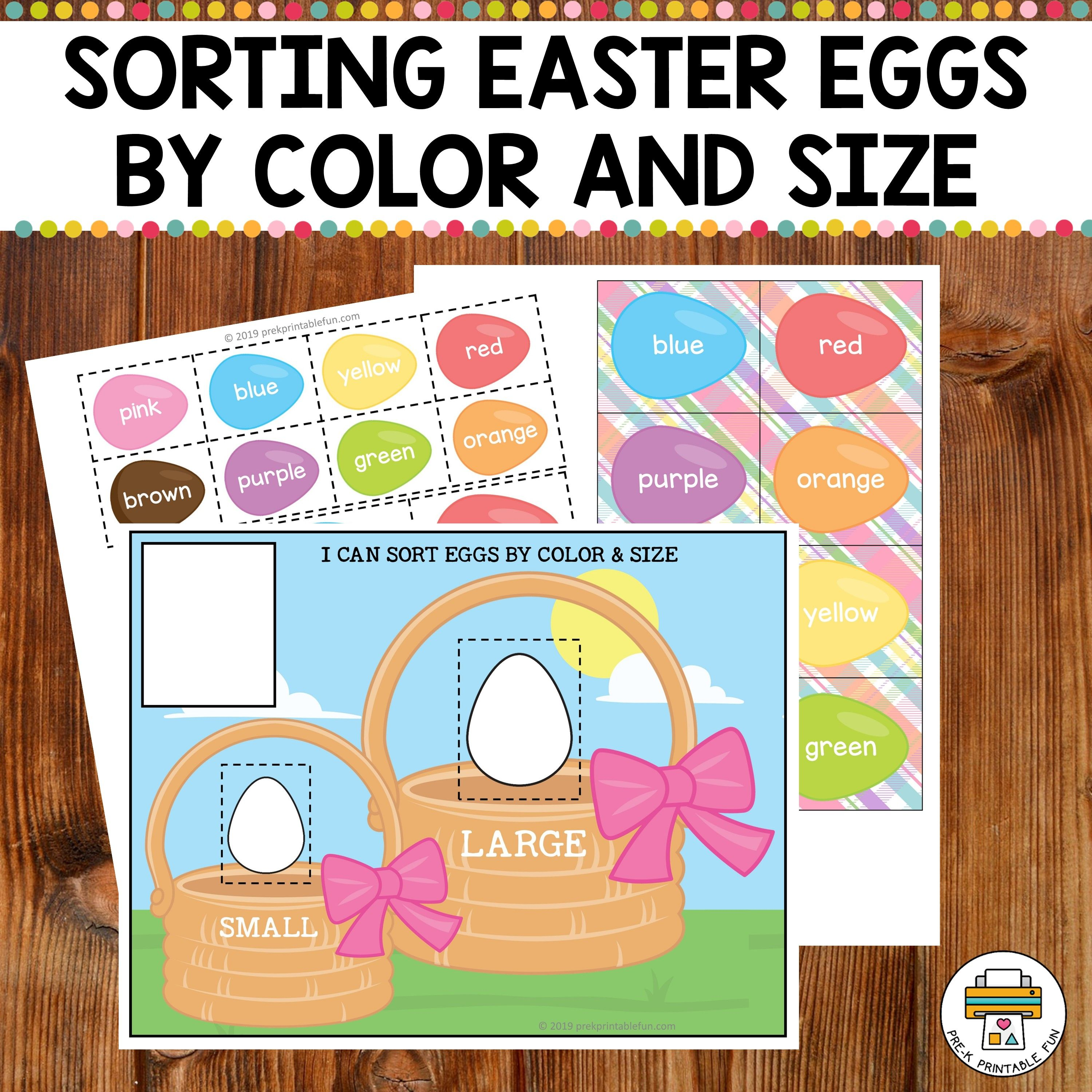 Easter Egg Sorting Mats By Color And Size In