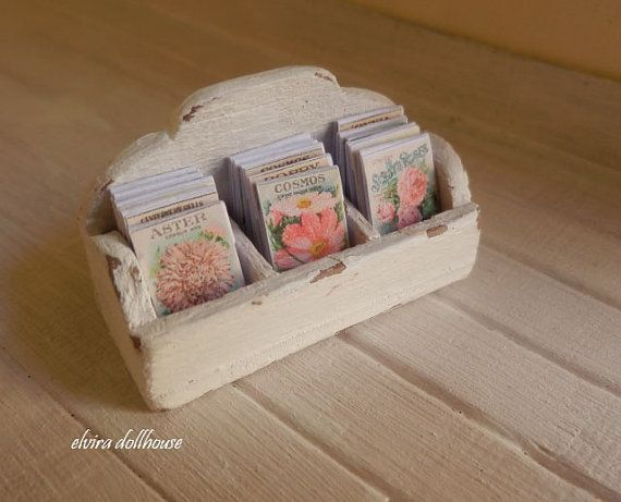 Miniature Garden Seed Packets Display Box, Dollhouse Miniature,1:12  Scale Dolls House