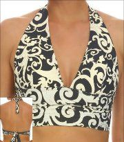 6fc9f7274b35a Tara Grinna White Beach Swimwear Top Bikini Banded Halter Style 16-WH-169