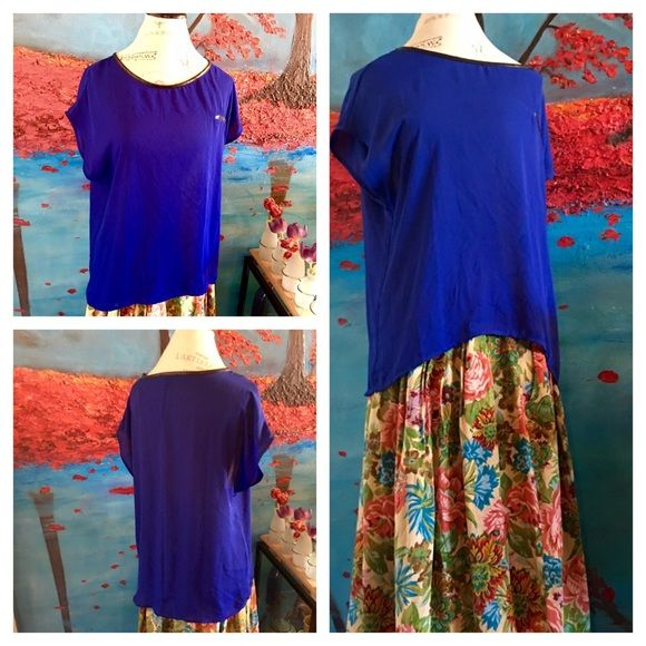 Sold Royal Blue Blouse By Forever 21 Necklace Sizes Statement