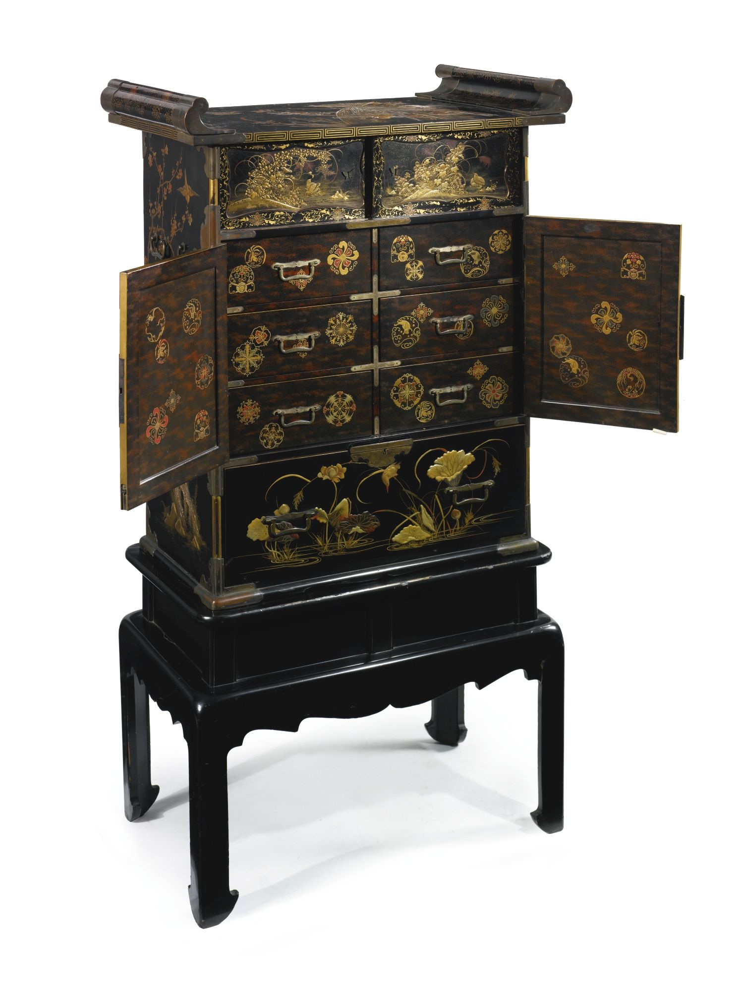 Meubles Chinois Et Japonais a japanese parcel-gilt black and red lacquer cabinet on