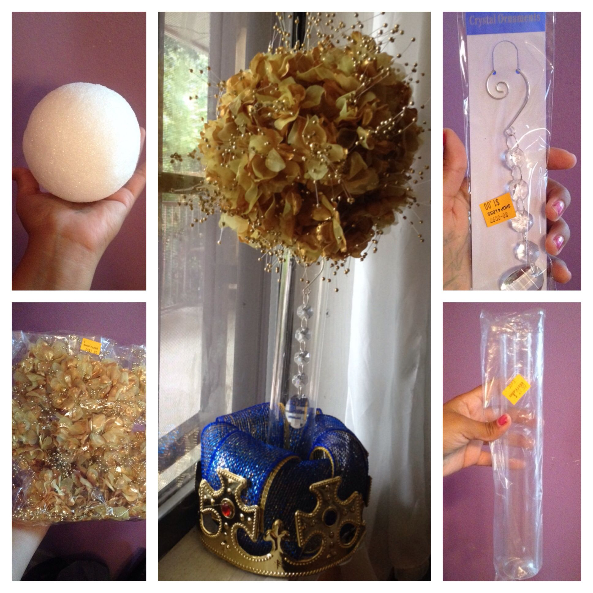 Gold floral centerpiece for royal prince baby shower theme