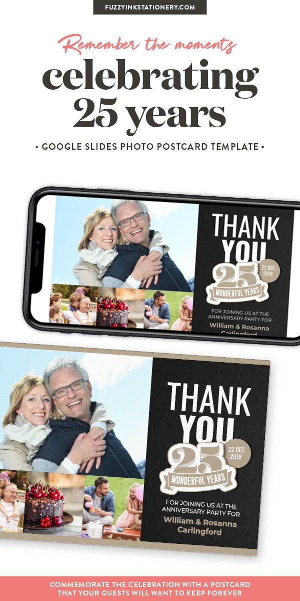 25th Anniversary Thank You Postcard Template for Google