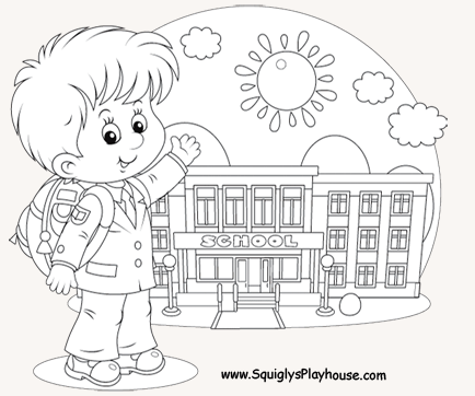 A Free Coloring Picture Of Boy Going To School Use This Big Page