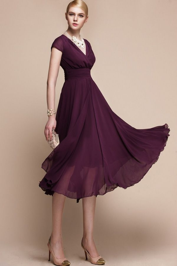 Purple Empire Chiffon Dress Oasap Com 98 80 Purple Evening