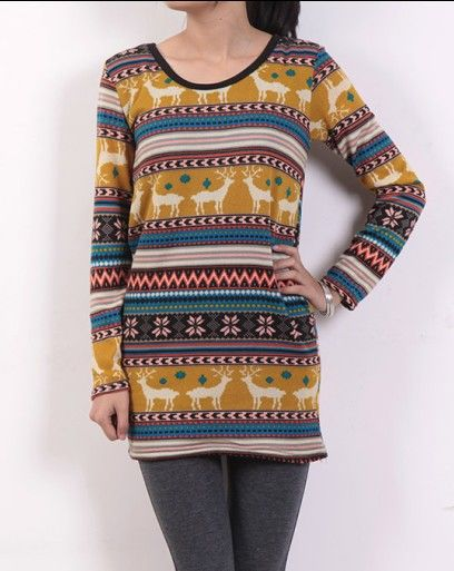 Wholesale Trendy & Casual Deer Pattern Round-neck Long Sleeve Knitting Top----Yellow  top dresses