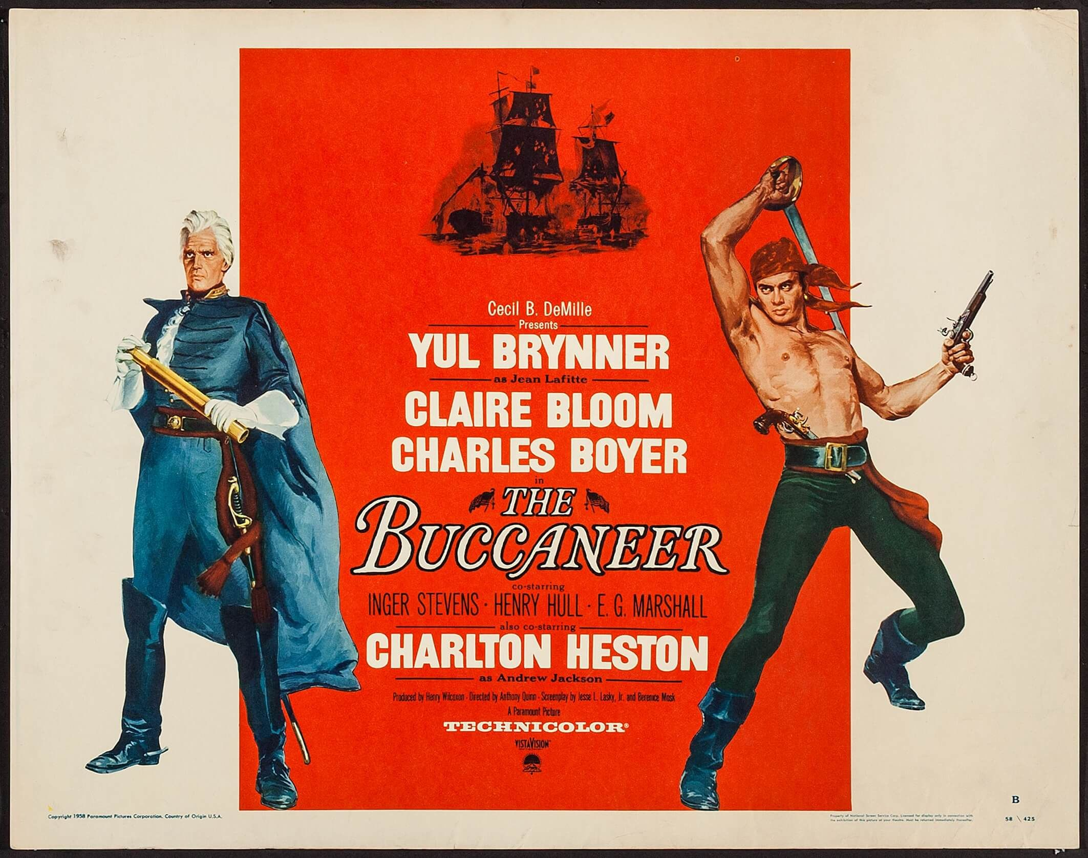 The Buccaneer (Paramount, 1958). Half Sheet