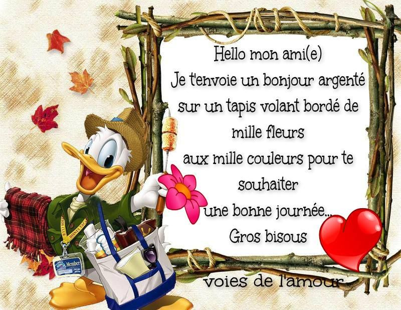 Hello Mon Amie Je Tenvoie Un Bonjour Argenté Sur Un