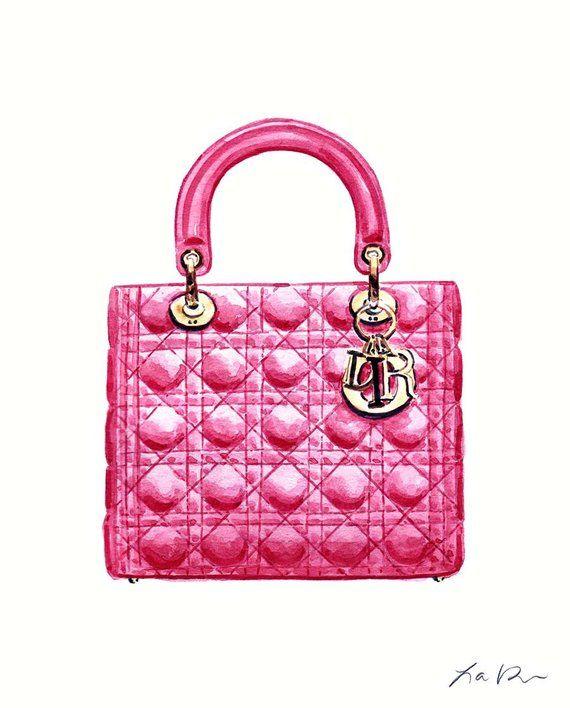 e8f8c6c4cb92dd Lady Dior Bright Pink Handbag Art Watercolor Painting Chanel Fashion  Illustration Fashion Art Preppy