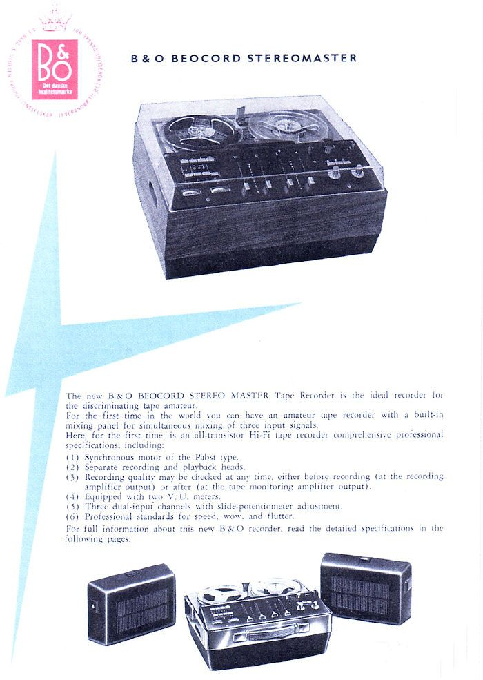 Beocord Stereomaster brochure by BeO 1963