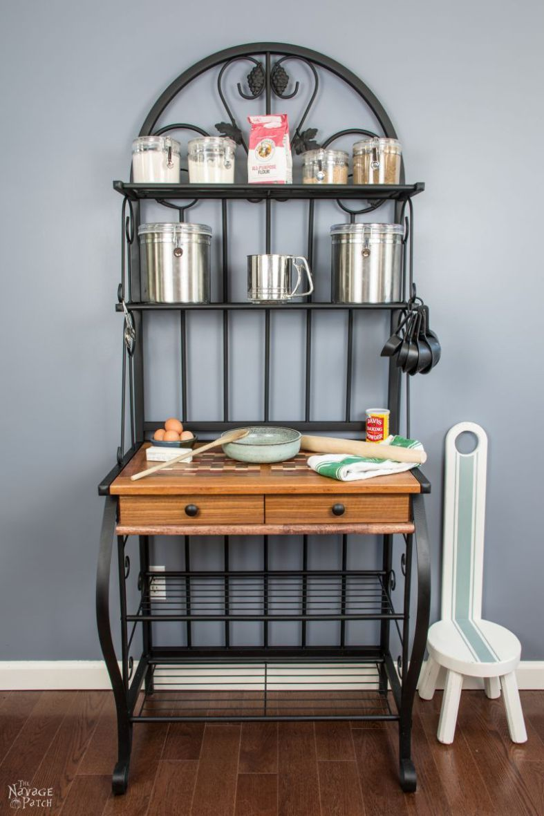 Bakers rack makeover farmhouse style furniture diy
