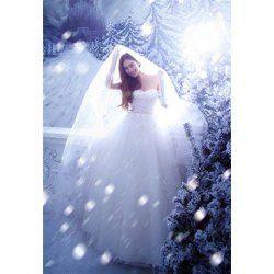 $58.78 Cute Sweetheart Neck Rhinestone and Applique Embellished Bridal Wedding Dress