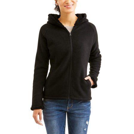 6f556578ca8 Faded Glory Women s Microfleece Hoodie With Cozy Sherpa Lining