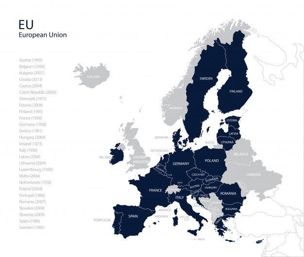 Mapa Union Europea 2017.Mapa Politico De La Ue Union Europea Sin Reino Unido