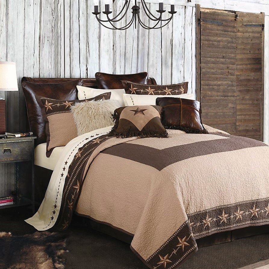 Quilt Bedding Set - Barbed Wire & Stars Western Quilt Set King Set ... : western quilt bedding sets - Adamdwight.com