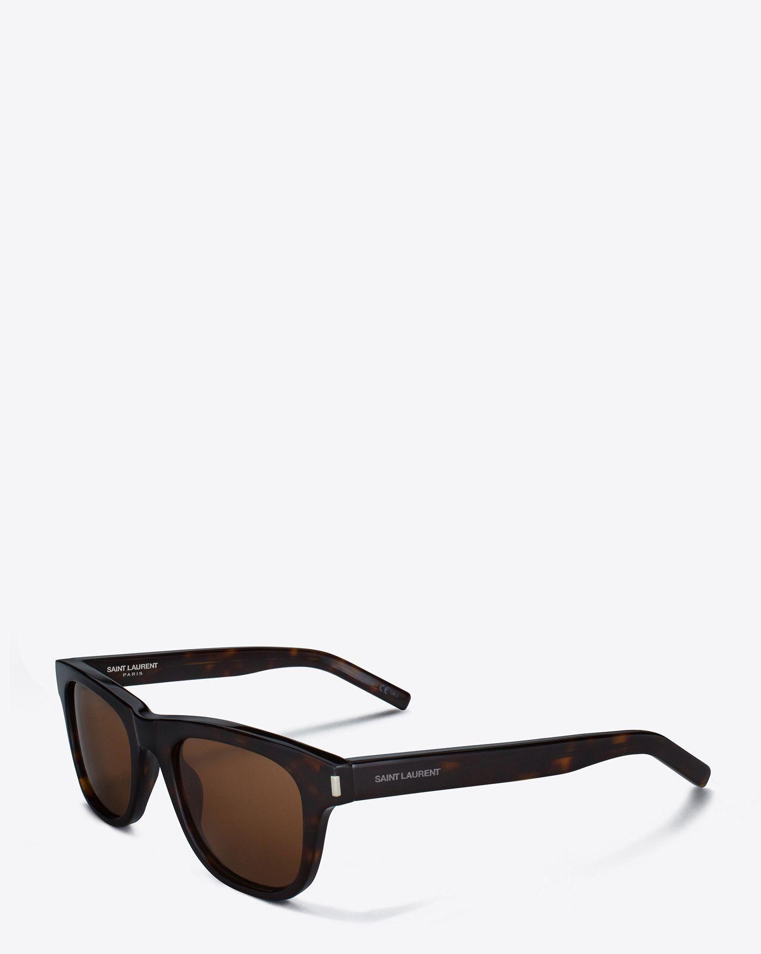 a21d1a1dc8cdf Saint Laurent Classic 2 Sunglasses In Dark Havana Acetate With Brown Lenses
