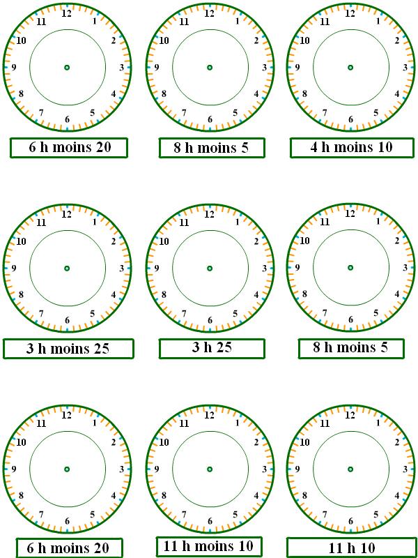exercices pour apprendre lire l 39 heure ecole pinterest pour apprendre heures et exercices. Black Bedroom Furniture Sets. Home Design Ideas