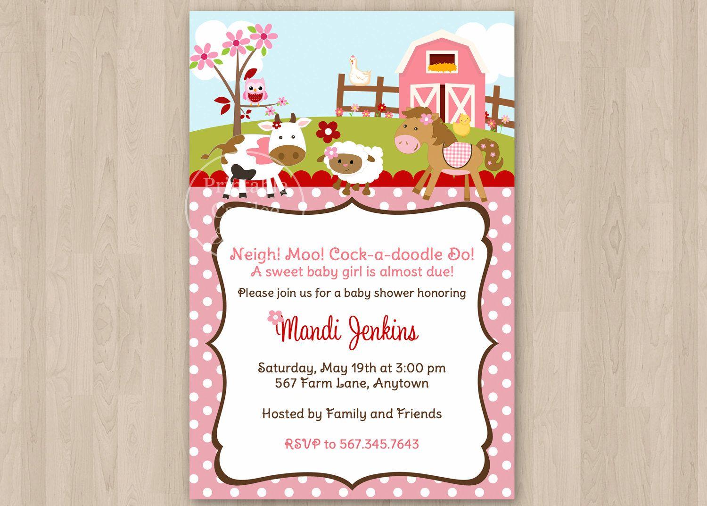 Girl Farm Baby Shower Invitation Custom by printablecandee, $10.00 ...