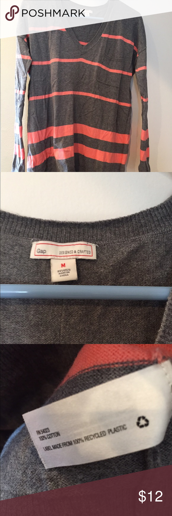 Gap V-Neck Striped Sweater This grey and coral striped sweater is in good used condition without any holes or stains. Very lightweight and comfortable! GAP Sweaters V-Necks