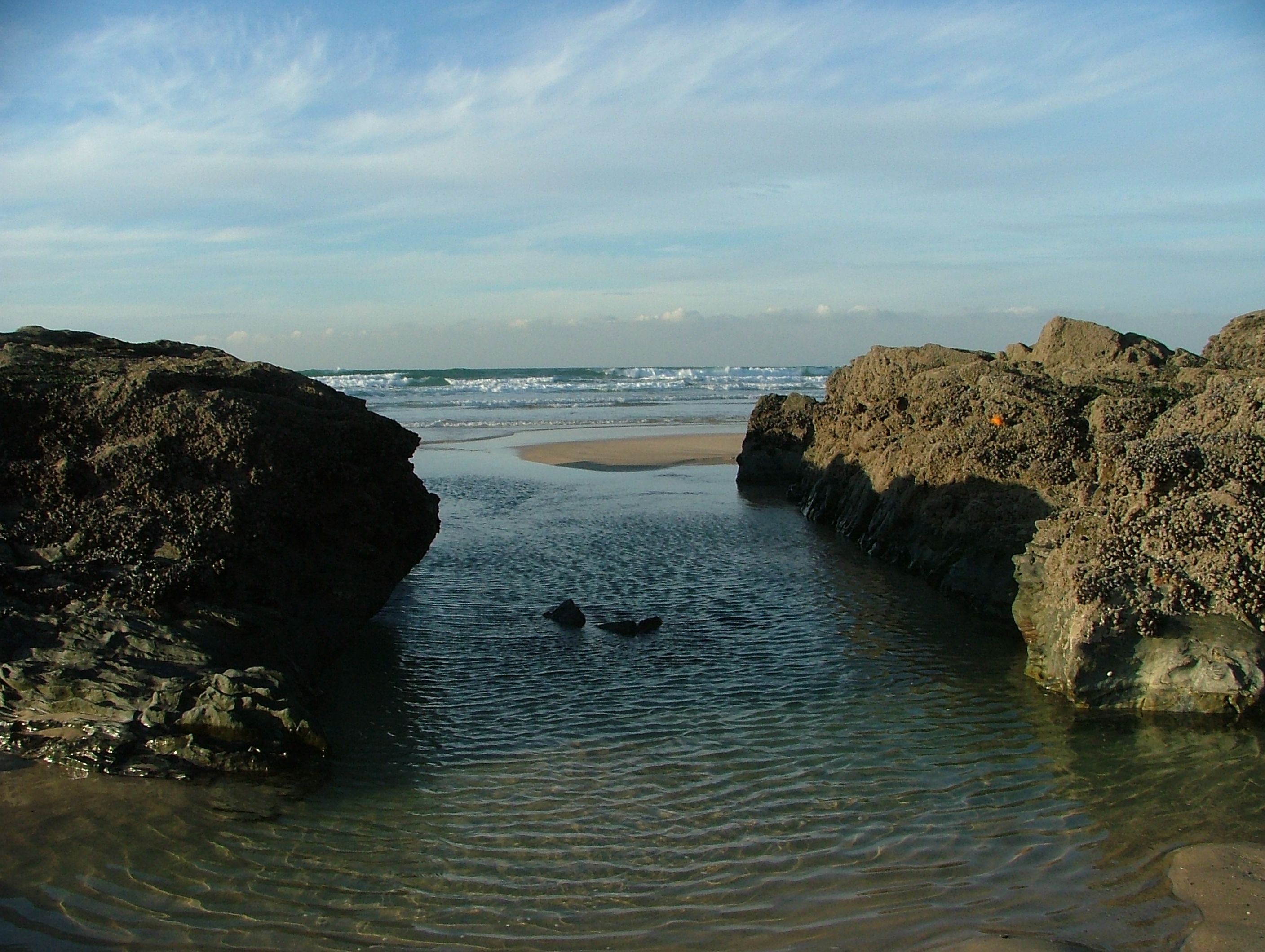 The 'sheeps dip' on Gwithian beach, where farmers used to bring