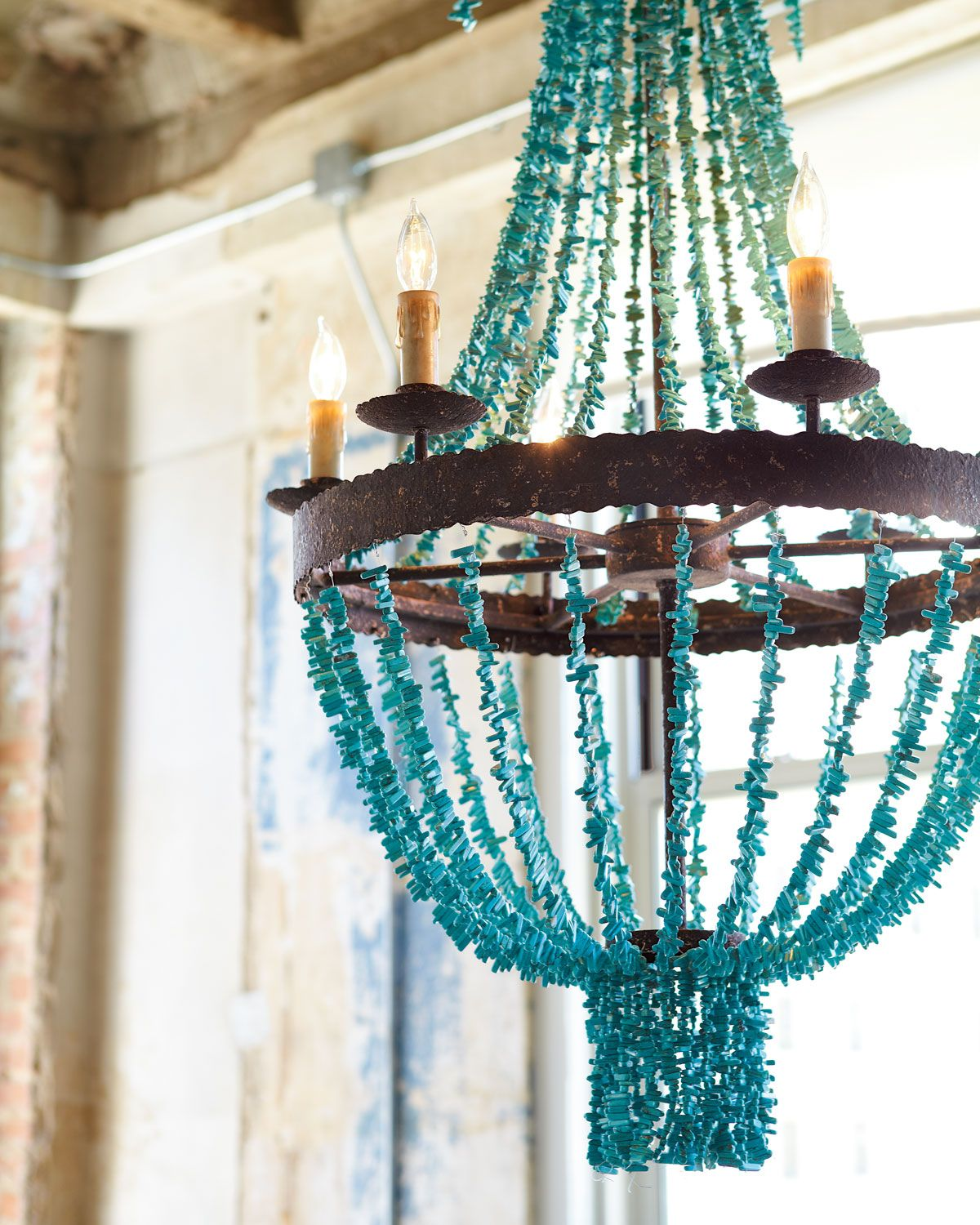 regina andrew design turquoise beads six light chandelier - Turquoise Chandelier Light