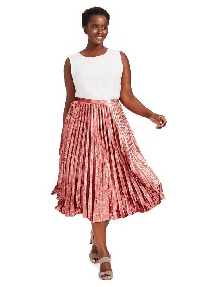 45e24e938a0 ALICE   YOU Raspberry Pink Pleated Crushed Velvet Skirt Womens Plus Sz 22   AliceYou  Pleated